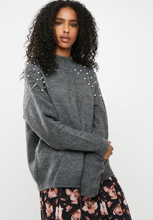 Pieces Pearl Knit Knitwear Dark Grey Melange