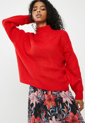 Pieces Royce Knit - Red Knitwear Red
