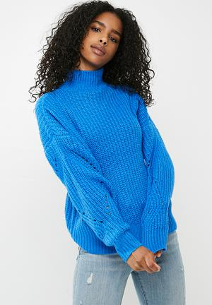 Pieces Royce Knit - Blue Knitwear Blue