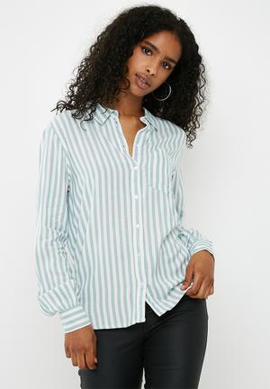 Jacqueline De Yong Akira Shirt White & Aqua