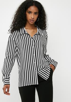 Dailyfriday Oversize Stripe Shirt - Black & White Black & White