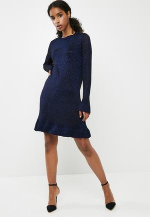 ONLY Kamilla Long Sleeve Knit Dress - Black & Blue Glitter Occasion Black & Blue