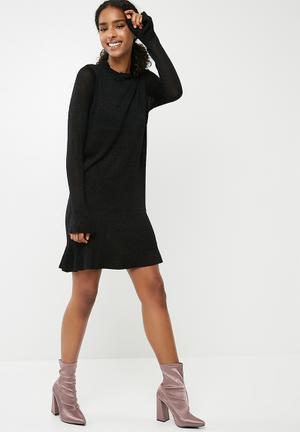 ONLY Kamilla Long Sleeve Knit Dress - Black Glitter Occasion Black & Gold