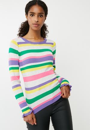 Jacqueline De Yong Andie Long Sleeve Pullover Knit Knitwear Purple, Pink, Yellow, Grey & Green