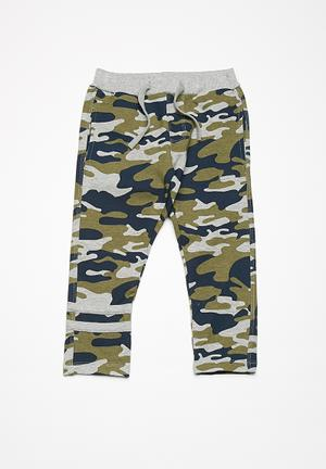 Name It Cam Sweat Pants - Green Grey, Green & Blue