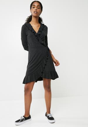 Vero Moda Henna Jersey Short Wrap Dress - Dark Grey Melange Casual Grey