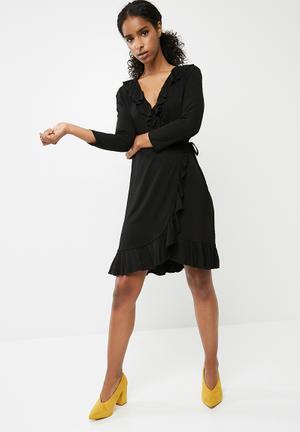 Vero Moda Henna Jersey Short Wrap Dress - Black Casual Black
