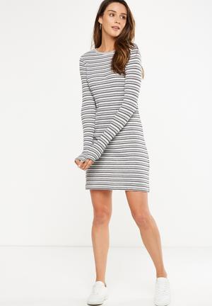 Cotton On Tina Long Sleeve T-shirt Dress Casual Grey, White & Black
