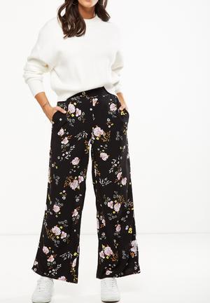 Cotton On Wide Leg Pant - Black Trousers Black