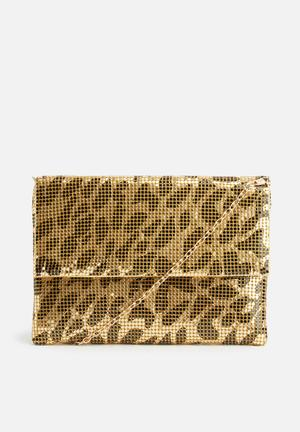 Missguided Leopard Print Chain Mail Bag Gold & Black