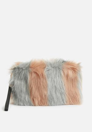 Missguided Pink Fluffy Clutch Bag Dusty Pink & Grey