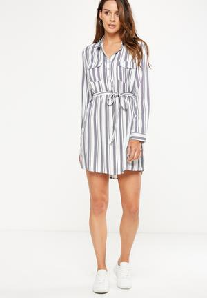 Cotton On Woven Tammy Long Sleeve Shirt Dress Casual Light Navy & White