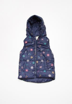 Cotton On Kids Rose Reversible Puffer Vest Jackets & Knitwear Dark Navy, Pink, Green, Yellow & White
