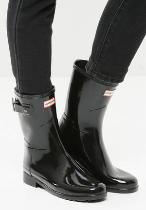 Hunter Original Refined Short Gloss Boots Black