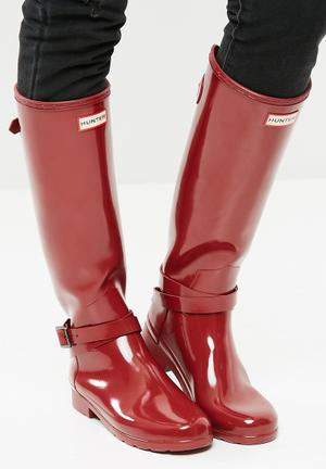 Hunter Original Tall Adjustable Ankle Strap Boots Red