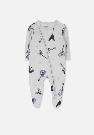 Cotton On Baby Mini Zip Through Romper Babygrows & Sleepsuits Grey, Blue & Black