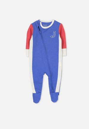 Cotton On Baby Mini Zip Through Romper Babygrows & Sleepsuits Blue, Red & White