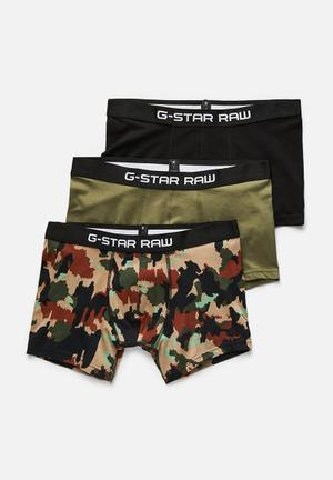 G-Star RAW 3 Pack Tach Stretch Trunk Underwear Green, Black, Beige & Tan