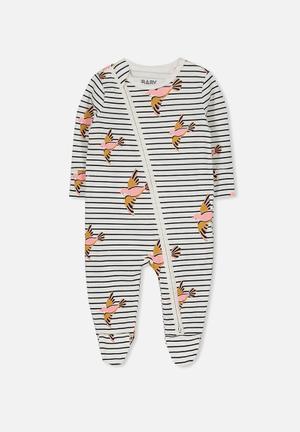 Cotton On Baby Mini Zip Through Romper Babygrows & Sleepsuits  Black, White & Pink