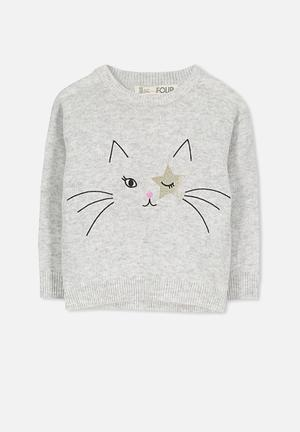 Cotton On Kids Nancy Knit Jumper Jackets & Knitwear Grey
