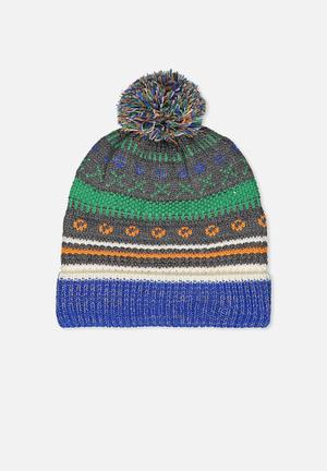 Cotton On Kids Winter Knit Beanie Accessories Grey, Green, Blue, Orange & White