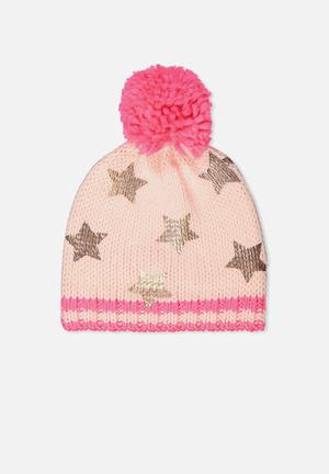 Cotton On Kids Winter Knit Beanie Accessories Pink & Rose Gold
