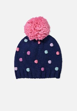 Cotton On Kids Winter Knit Beanie Accessories Navy, Pink & Blue