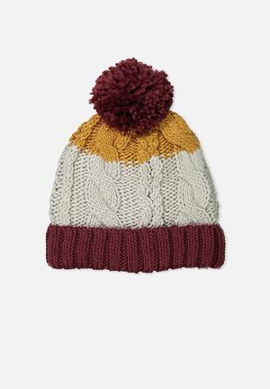 Cotton On Kids Winter Knit Beanie Accessories Burgundy, Gold & Grey