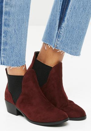 New Look Beat Chelsea Ankle Boot - Burgundy Burgundy