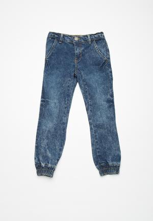 Basicthread Kids Acid Wash Denim Joggers Pants & Jeans Blue