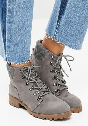New Look Quilted Worker Boot - Grey Grey