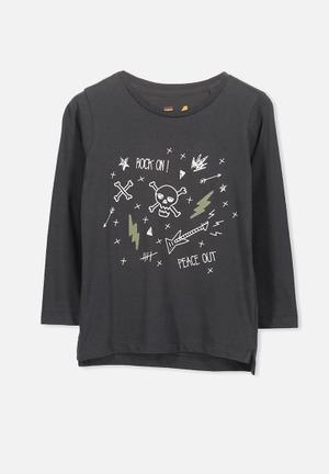 Cotton On Kids Tom Tee Tops Charcoal