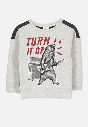Cotton On Kids Lachy Crew Jumper Tops Grey & Black