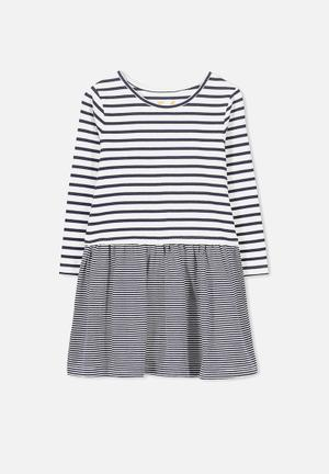 Cotton On Kids Carolin Long Sleeve Dress Navy & White