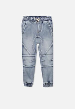 Cotton On Kids Bobby Track Denim Pants Blue