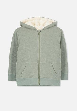 Cotton On Kids Sid Zip Through Hoodie Jackets & Knitwear Green & White