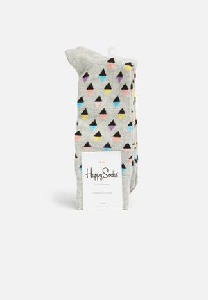 Happy Socks Mini Diamond Socks Grey, Black, Yellow, Blue & Pink