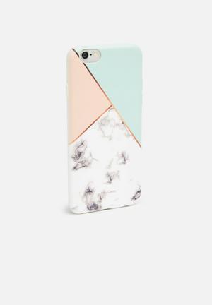 Hey Casey Geo Trio Phone Cover Green, Peach, White & Grey