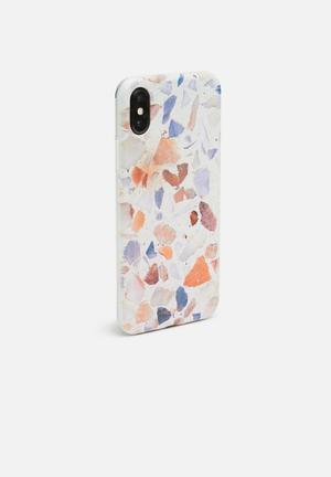 Hey Casey Terazzo Phone Cover Grey, Orange & Blue