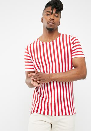 Jack & Jones Mito Stripe Tee T-Shirts & Vests Red & White
