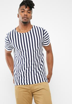 Jack & Jones Mito Short Sleeve Stripe Tee T-Shirts & Vests Navy & White