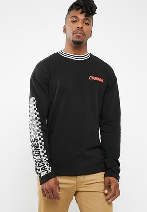 Jack & Jones Check Crew Neck Sweater Black & White