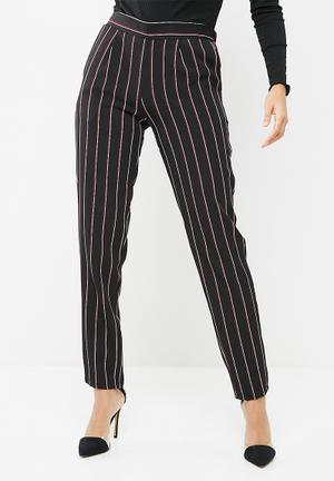 Dailyfriday Tapered Suit Pant Trousers Black, Burgundy & White