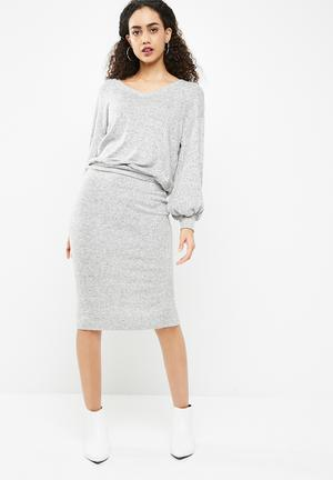 Dailyfriday Cut & Sew Twofer Dress Casual Grey