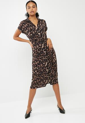 New Look Animal Print Midi Shirt Dress Formal Brown & Black