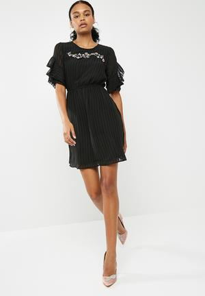 New Look Embroidered Shadow Stripe Ruffle Sleeve Dress Occasion Black