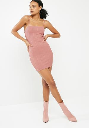 Missguided Strappy Square Neck Bandage Bodycon Dress Casual Pink
