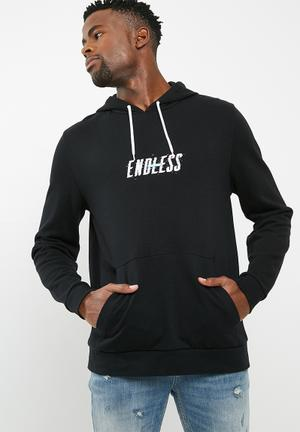 Basicthread Printed Pullover Hoodie - Black Hoodies & Sweats Black, White, Blue & Pink
