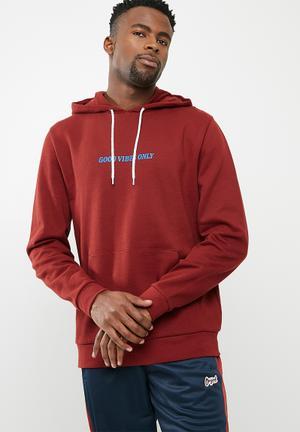 Basicthread Printed Pullover Hoodie - Red Hoodies & Sweats Red & Blue