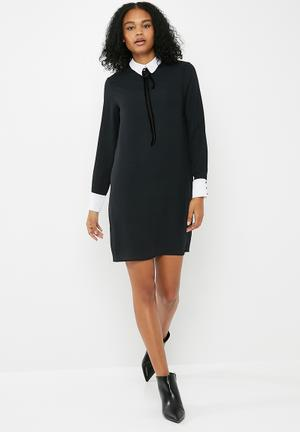 Dailyfriday Longsleeve Tunic Dress Formal Black & White